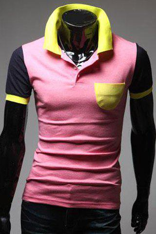 Turn-Down Collar Color Block Spliced Short Sleeve Men's Polo T-Shirt - PINK XL