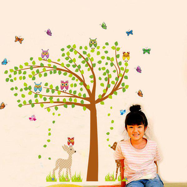 High Quality Cartoon Animals Green Tree Shape Removeable Wall Stickers - COLORMIX
