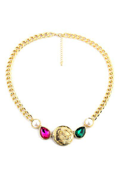 Punk Lion Head Pendant Necklace For Women - GOLDEN
