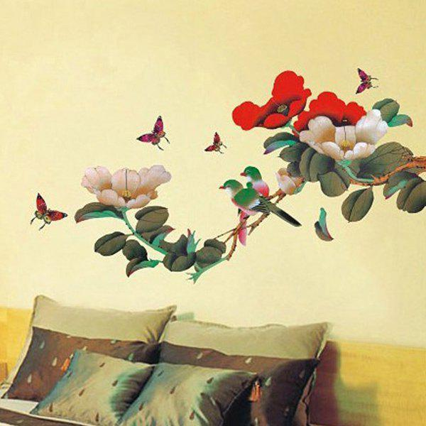 High Quality Birds and Flower Shape Removeable Wall Stickers - COLORMIX