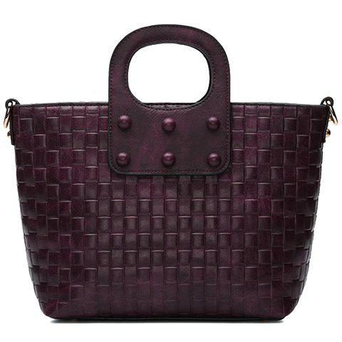 Stylish Rivets and Weaving Design Tote Bag For Women - DEEP PURPLE