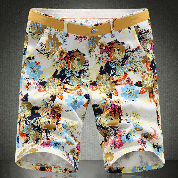 Plus Size Straight Leg Flower Print Slimming Mens Zipper Fly ShortsMen<br><br><br>Size: 36<br>Color: YELLOW