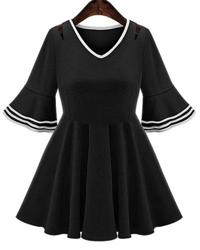 Elegant Women's V-Neck Flare Sleeve A-Line Dress - BLACK XL