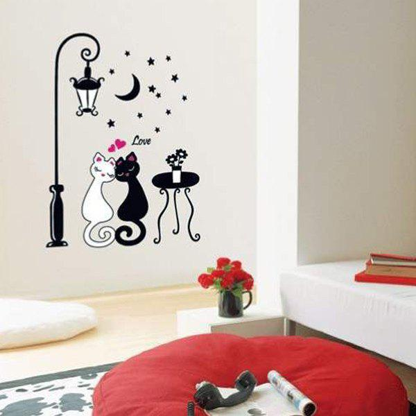 High Quality Cartoon Cat Lover Shape Removeable Wall Stickers - WHITE/BLACK