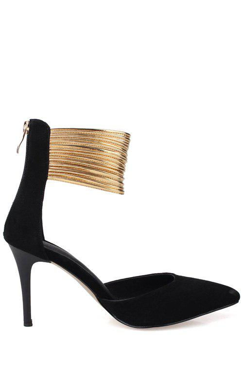 Trendy Color Block and Zip Design Pumps For Women