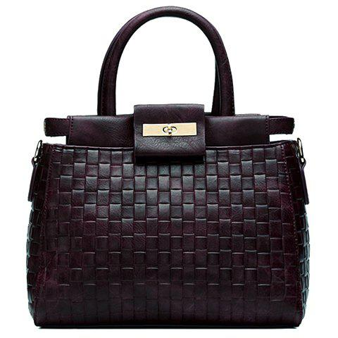 Trendy Weaving and Solid Colour Design Women's Tote Bag - DEEP PURPLE