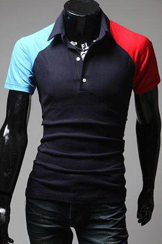 Trendy Turn-Down Collar Color Block Spliced Short Sleeve Men's Polo T-Shirt - CADETBLUE M