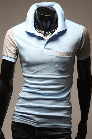 Turn-Down Collar Color Block Spliced Pocket Embellished Short Sleeve Men's Polo T-Shirt - LIGHT BLUE XL