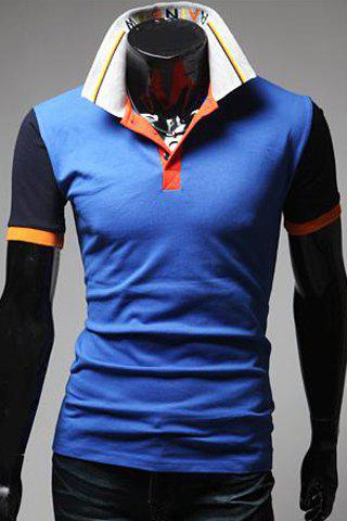 Turn-Down Collar Color Block Spliced Letters Pattern Short Sleeve Men's Polo T-Shirt - BLUE M