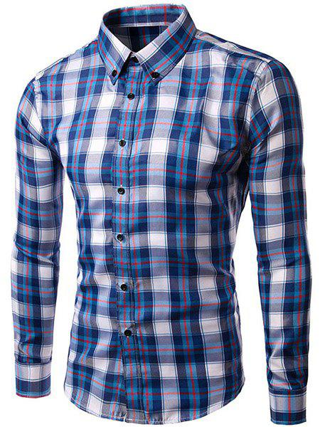 Men's Slimming Turn Down Collar Checked Long Sleeves Shirt