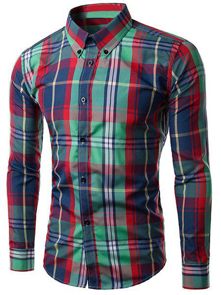 Slim Fit Turn Down Collar Plaid Long Sleeves Shirt For Men - RED/GREEN XL