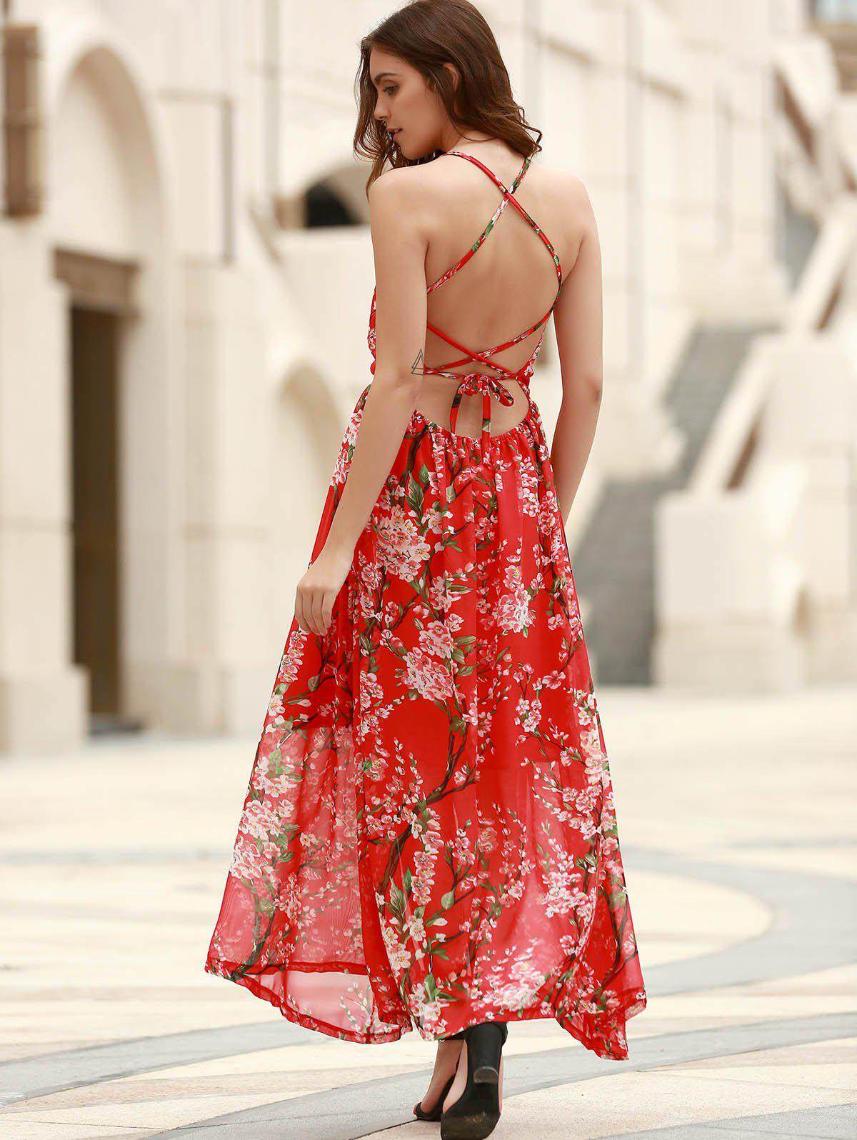 Bohemian Floral Print Spaghetti Strap Criss-Cross Women's Chiffon Dress - ONE SIZE(FIT SIZE XS TO M) RED