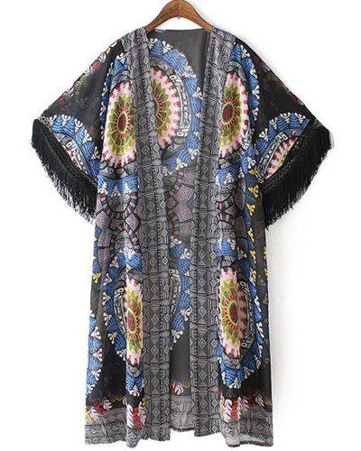 Ethnic Collarless 3/4 Sleeve Printed Fringed Women's Kimono Blouse - COLORMIX M