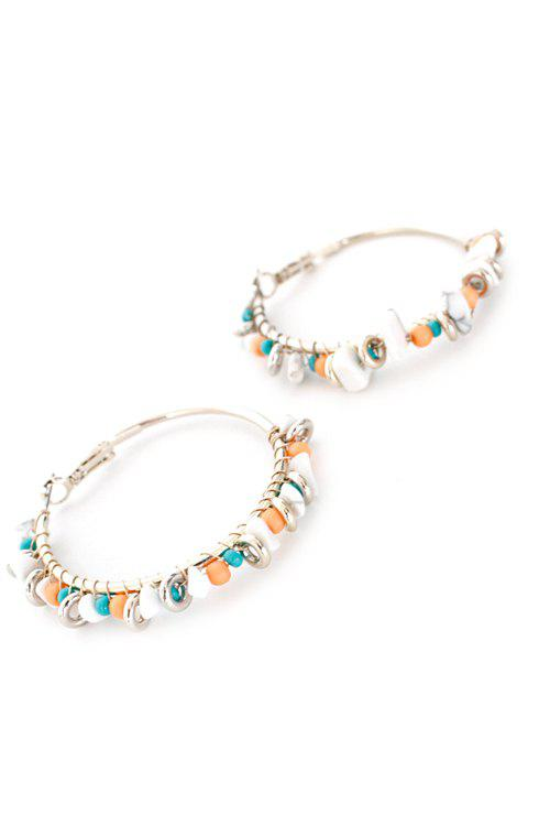 Pair of Bohemia Bead Hoop Earrings - SILVER