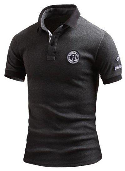 Tournez-Down Collar Color Block Spliced ​​Applique embellies à manches courtes hommes Polo T-Shirt - Gris Foncé L