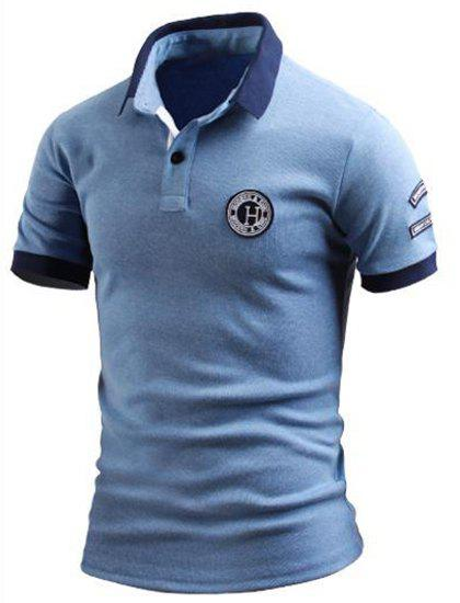 Turn-Down Collar Color Block Spliced Applique Embellished Short Sleeve Men's Polo T-Shirt - AZURE 3XL