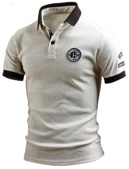 Turn-Down Collar Color Block Spliced Applique Embellished Short Sleeve Men's Polo T-Shirt - GRAY 2XL