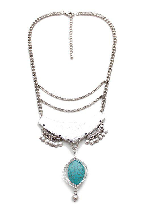 Stylish Turquoise Oval Drop Necklace For Women - SILVER