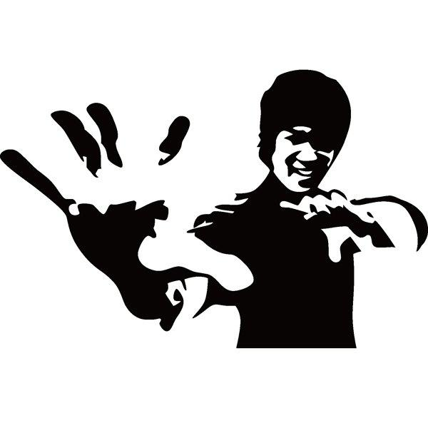 High Quality Solid Color Bruce Lee Pattern Removeable Wall Stickers - BLACK