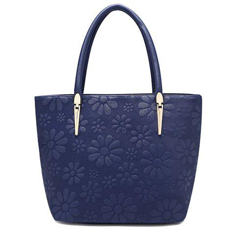 Trendy Solid Color and Daisy Embossing Design Women's Tote Bag цена 2016