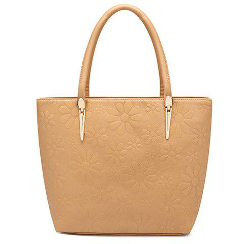 Trendy Solid Color and Daisy Embossing Design Women's Tote Bag - KHAKI