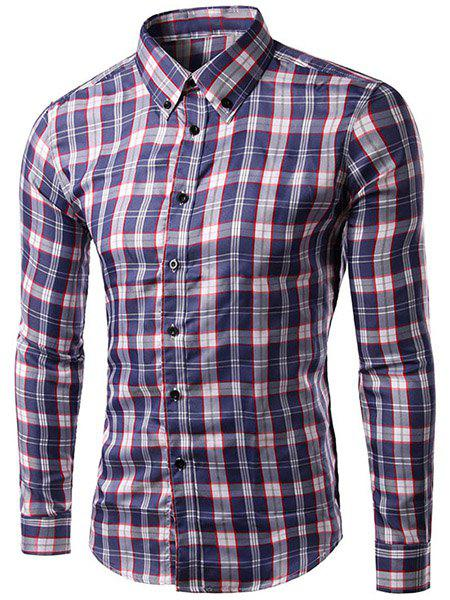 Slimming Turn Down Collar Checked Long Sleeve Shirt For Men - RED/WHITE L