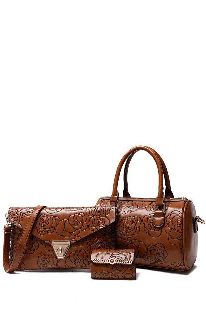 Elegant Floral and Embossing Design Tote Bag For Women - BROWN