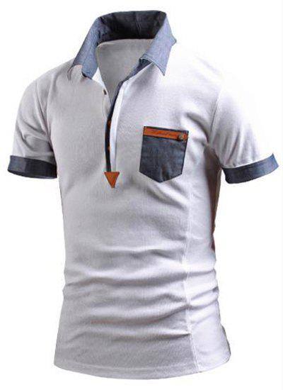 Turn-Down Collar Color Block Spliced Fake Pocket Embellished Short Sleeve Men's Polo T-Shirt - WHITE XL