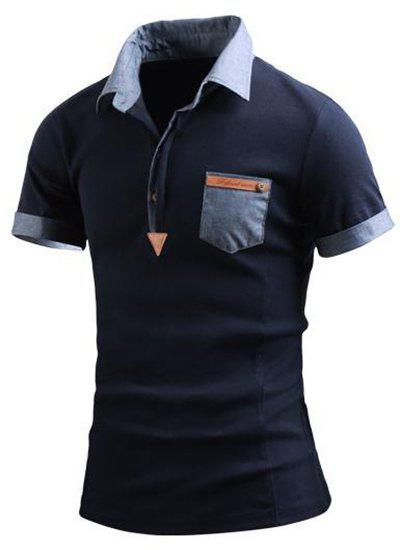 Turn-Down Collar Color Block Spliced Fake Pocket Embellished Short Sleeve Men's Polo T-Shirt