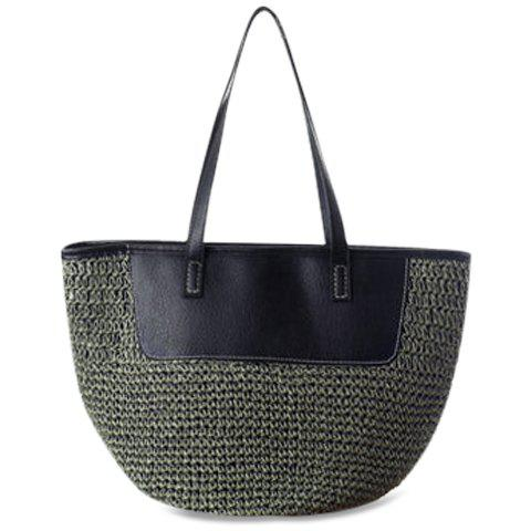 Fashion Weaving and Zip Design Shoulder Bag For Women - ARMY GREEN