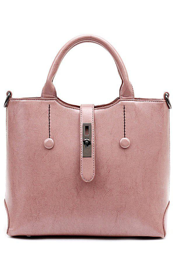 Elegant Hasp and Button Design Tote Bag For Women - PINK