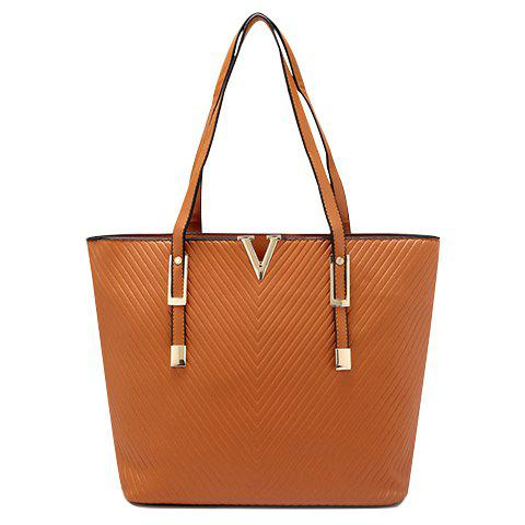 Fashionable Women's Shoulder Bag With Metal and PU Leather Design - BROWN