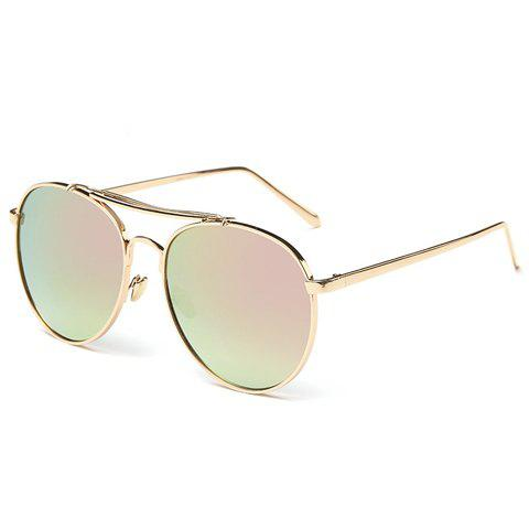 Chic Two Metal Bar and Hollow Out Design Women's Golden Sunglasses