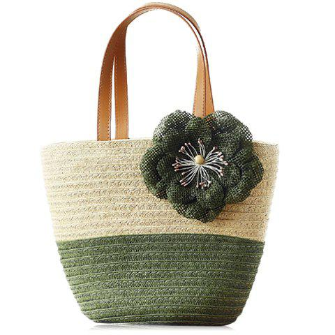 Stylish Color Block and Flower Design Tote Bag For Women - ARMY GREEN