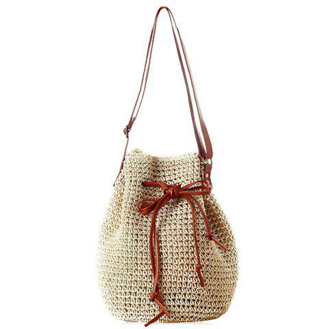 Fashionable Drawstring and Weaving Design Shoulder Bag For Women - OFF WHITE
