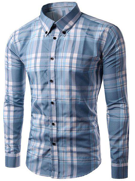 Slimming Checked Long Sleeves Turn Down Collar Shirt For Men - BLUE/WHITE XL