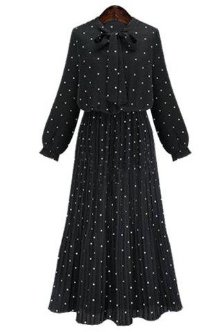 Graceful Bow Tie Collar Long Sleeve Polka Dot Pleated Women's Maxi Dress - BLACK M