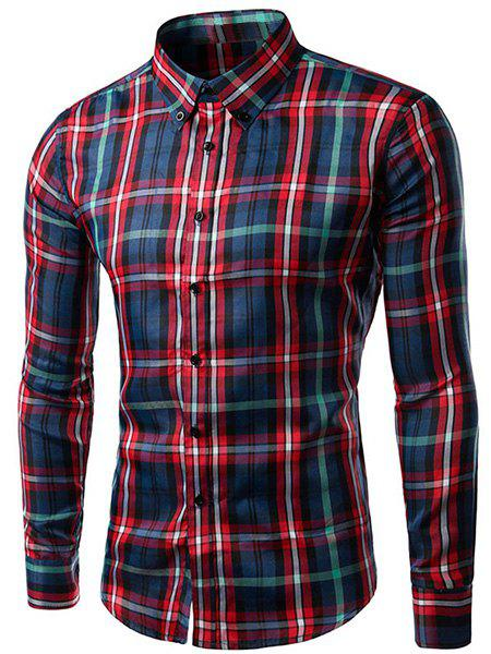 Men's Slimming Plaid Long Sleeves Turn Down Collar Shirt