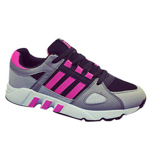 Fashionable Striped and Lace-Up Design Women's Athletic Shoes - BLACK/ROSE RED 40