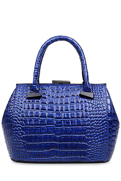 Trendy Crocodile Print and Clip Closure Design Tote Bag For Women - BLUE