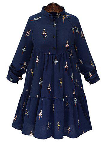 Graceful Stand-Up Collar Long Sleeve Girls Print Plus Size Women's Dress - PURPLISH BLUE 2XL
