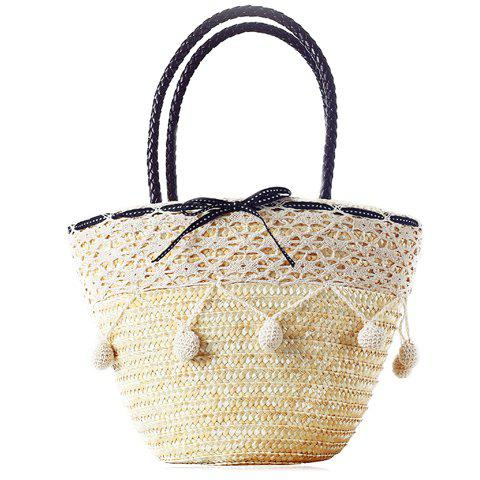 Cute Drawstring and Weaving Design Tote Bag For Women - LIGHT GOLD
