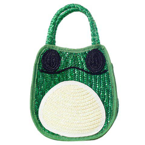 Cute Weaving and Color Block Design Tote Bag For Women - GREEN