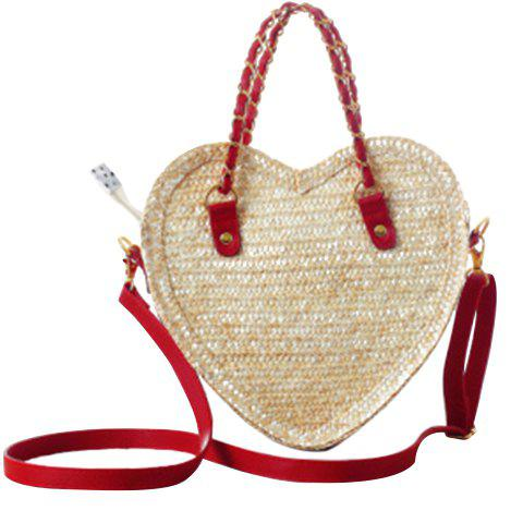 Fresh Style Weaving and Heart Shape Design Tote Bag For Women - RED