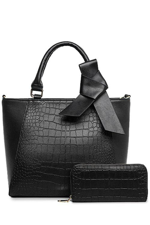 Graceful Crocodile Print and Bowknot Design Tote Bag For Women - BLACK