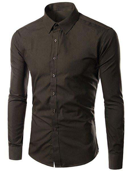 Men's Slimming Long Sleeves Solid Color Turn Down Collar Shirt - COFFEE XL