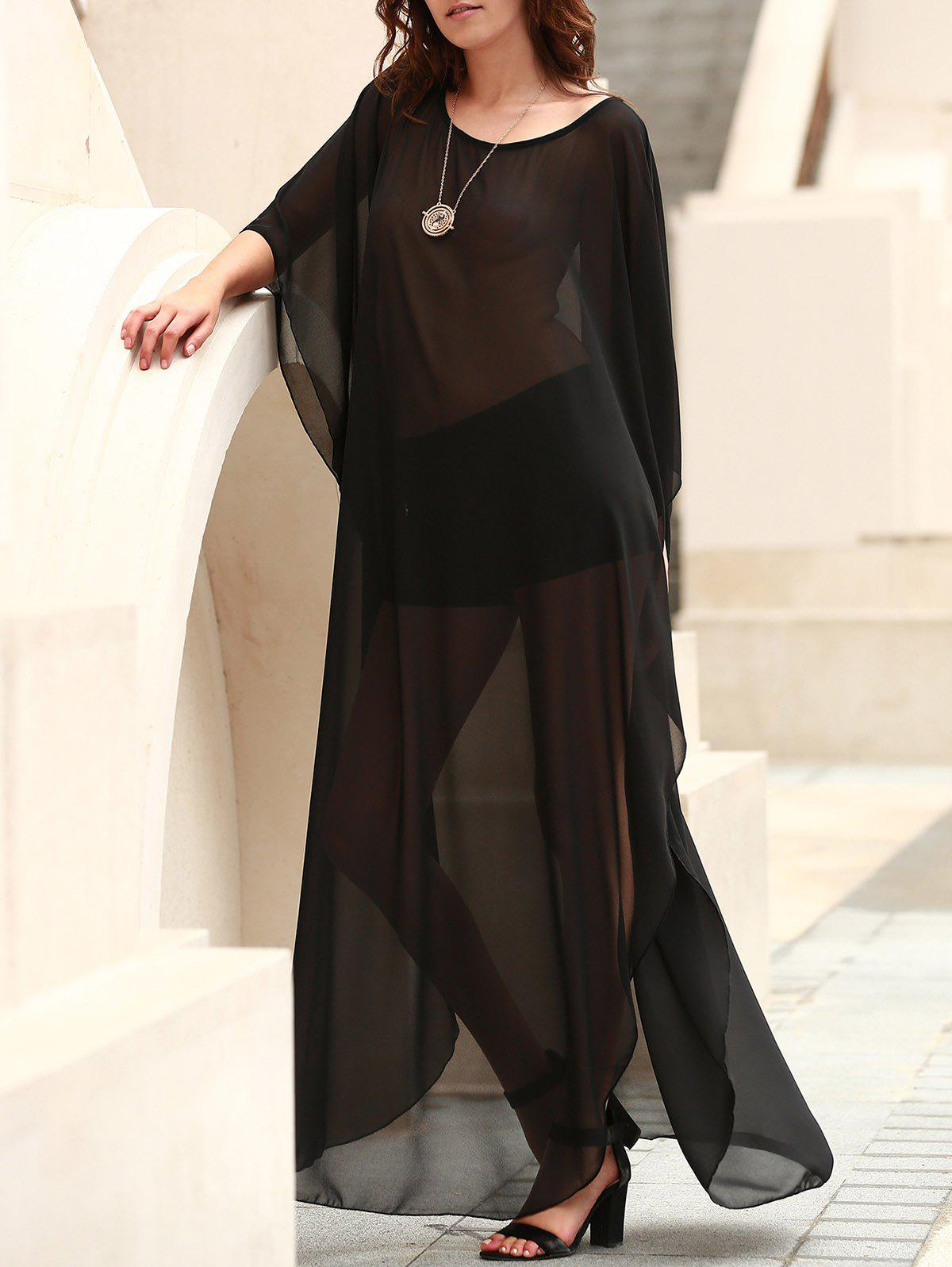Sexy Scoop Neck 3/4 Sleeve See-Through Slit Women's Cover-Up - BLACK ONE SIZE(FIT SIZE XS TO M)
