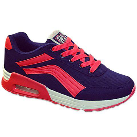 Casual Color Matching and Lace-Up Design Athletic Shoes For Women - BLUE/PINK 39