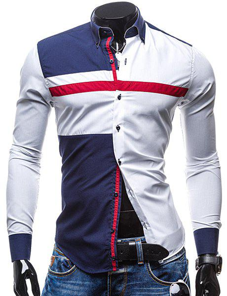 Trendy Turn-Down Collar Color Block Spliced Long Sleeve Men's Button-Down Shirt - WHITE M