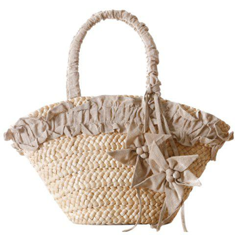 Trendy Flower and Weaving Design Tote Bag For Women - OFF WHITE